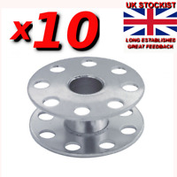 10 X INDUSTRIAL SEWING MACHINE BOBBINS. (WITH HOLES) 95k JANOME, TOYOTA  sp/47