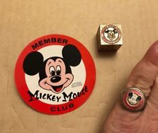 Vintage Mickey Mouse Ring Jack-in-the Box Jiminy Cricket & Sticker Mouseketeers