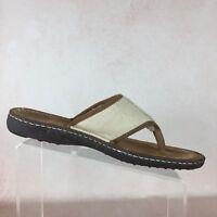 UGG AUSTRALIA B04 Chestnut Leather Banded Wool Lined Slip On Sandals Men's Sz 11