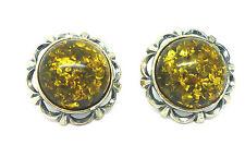 Sterling Silver Green Amber Fancy Button Style Stud Earrings