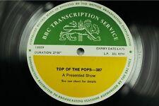 BBC 387 Transcription Disc TOP of POPS Live The FACES  CILLA BLACK STEELEYE SPAN