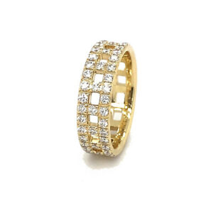 Tiffany & Co T True Wide Ring 18k Yellow Gold with Diamonds