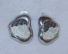 Sporty Silver Tone Metal Faux Black Gray White Snake Skin Clip Earrings