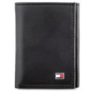 Brand New Genuine Leather Tommy Hilfiger Oxford Slim Trifold Wallet Black