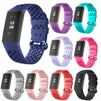 For Fitbit Charge 3 Watch Band  Silicone Breathable Replacement Wrist Bracelet