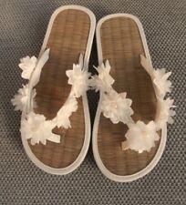 Ladies Straw Bride or Bridesmaid Flip Flops in Ivory or Coral