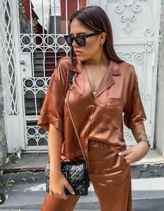 Zara Satin Pyjama Style Top Trousers Matching Co Ord Set Size L