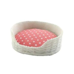 Melody Jane Dolls House Pink & White Dog Cat Bed Basket & Cushion Accessory