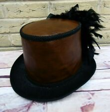 Unique OOAK GENUINE LEATHER Brown Steampunk Top Hat Feathers (SA)