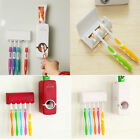 Wall Mount Rack  Automatic Toothpaste Dispenser +5 Toothbrush Holder Stand