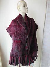 Bright/Elegant best American mink fur knitted Lantern Cape/shawls/Poncho WineRed