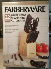 Knife Set With Block Kitchen Stainless Steel Cutlery Knives 22 Piece Set