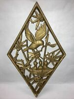 Vtg Wall Art SYROCO WOOD Diamond Shape 3D Plaque, Mid-Century Asian Home Decor