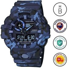 New Casio G-Shock Special Colour Mens Watch Ana Digi Blue Camouflage GA-700CM-2
