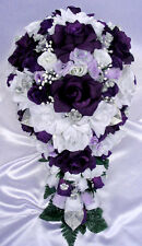 21pc Bridal bouquet wedding Silk flower PURPLE PLUM SILVER Cascade centerprices
