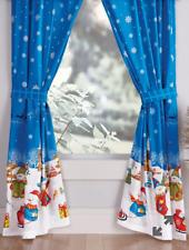 "NEW Snowman Window Curtains Panels * Holiday Christmas Decor * 84"" X 84"""