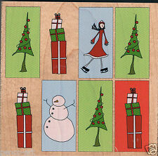 Stamps Happen Rubber stamp on wood block. Christmas collage. Square 9.8cm. 90409