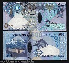 QATAR 500 RIYALS P27 2007 2008 POLYMER BOAT FALCON UNC HYBRID MONEY ANIMAL NOTE