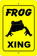 Frog Xing Crossing caution farm animal gift Metal aluminum tin sign #A