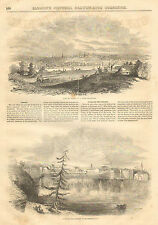 Albany, NY. Genesee Falls, Rochester, NY. City View Vintage, 1852 Antique Print,