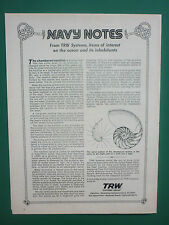 10/1973 PUB TRW SYSTEMS GROUP OCEAN CHAMBERED NAUTILUS NAUTILE ORIGINAL AD