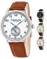 Stuhrling 207 WW1 Military Inspired Men's Décor Swiss Quartz Leather Strap Watch