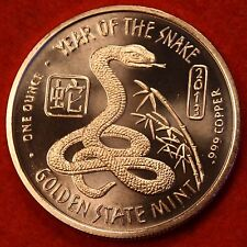 2013 YEAR OF THE SNAKE .999% COPPER BULLION ROUND 1 AVDP OZ W/FREE AIR-TITE