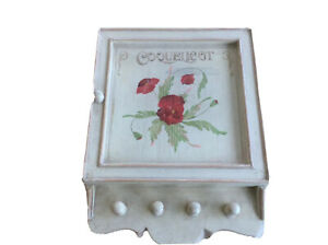 Small French key chest wooden Cabinet White Floral Country Cote D' Azur Provence