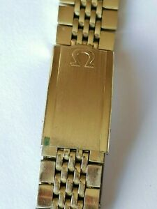 Original Omega Rice Beads Yellow Gold plated Vintage Watch Band 18mm