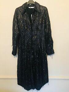 BNWT ZARA LIMITED EDITION BLACK SEQUIN SHIRT MIDI DRESS SIZE S