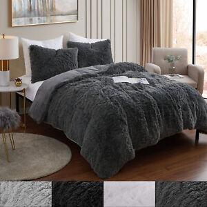 Long Plush Shaggy Faux Fur 3 Piece Comforter Set