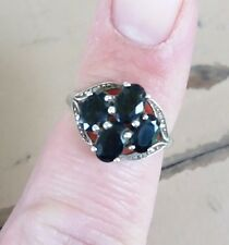 Sterling Silver 925 Ring Size 6 Stamped STS With 4 Blue Sapphires