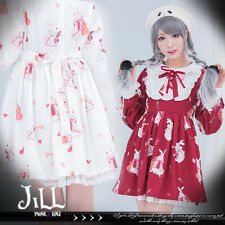 lolita fairytale Alice white rabbit herald orchestra shirt dress【J2F6008】