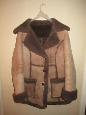 Vintage Montgomery Ward Sheepskin Shearling Brown Rancher Coat Jacket Womens S/M