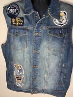 Parish Nation Mens Vest Size XL Blue Denim Jean Jacket Great Condition