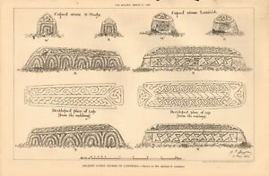 1891 ANTIQUE PRINT- ARCHITECTURE - ANCIENT COPED STONES IN CORNWALL