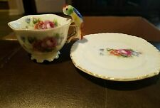 Made In Japan Mini TEACUP BIRD HANDLE FLORAL FOOTED TEA  CUP AND SAUCER
