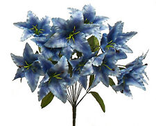 14 Tiger Lilies Lily ~ BLUE ~ Silk Wedding Flowers Bridal Bouquets Decoration