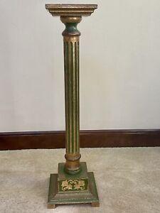 Vintage Wooden Italian Florentine Gilt Gold & Green Fluted Column Pedestal Stand