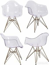 SET OF 4 Eames Style Transparent Ghost Side Dining Accent Chair Gold Frame Base