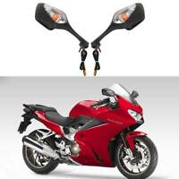 Black Motorcycle Rearview Big Mirrors with LED Fit for Honda VFR1200 2010-2012