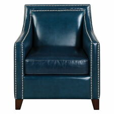 "29"" w Brianna Accent Chair blue top grain leather hardwood frame unique modern"