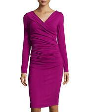 Diane Von Furstenberg Draped Dress Size M Bentley Ruched Fuschia Lotus Berry