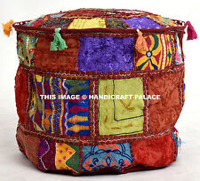 """Cotton Bohemian Patchwork Poufs Maroon Foot Stool 18"""" Embroidered Indian Ottoman"""
