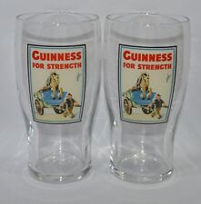 """GUINNESS BIERE 2 Verres 50 cl pinte """"GUINNESS FOR STRENGTH"""" NEUF"""