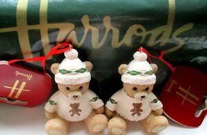2 HARRODS Resin Christmas BEARS 2021 & Harrods Hunting Green Sales Bags