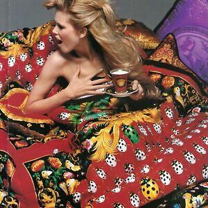 "GIANNI VERSACE red fabric panel Barocco & Ladybug print 55"" from ss 1995"