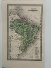 1834 BRAZIL HAND COLOURED ANTIQUE MAP BY CARY & LEA 186 YEARS OLD