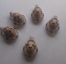 Peruvian Ceramic Buffalo Face Focal Pendant Bead Lot of 5 Animal