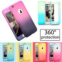 HYBRID 360° HARD THIN COLOURFUL CASE + TEMPERED GLASS COVER FOR iPhone 6 7 Plus